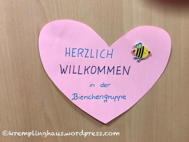 Kindergarten Gruppenschild Herzlich Willkommen Bienengruppe
