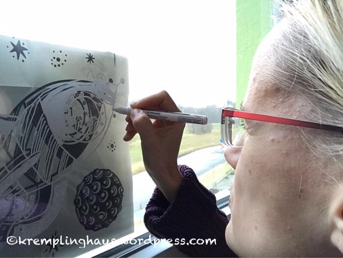 Fenstermalerei, Kreidestifte