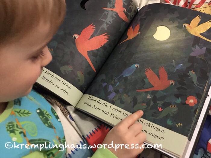 Kind schaut Kinderbuch mit Mond an