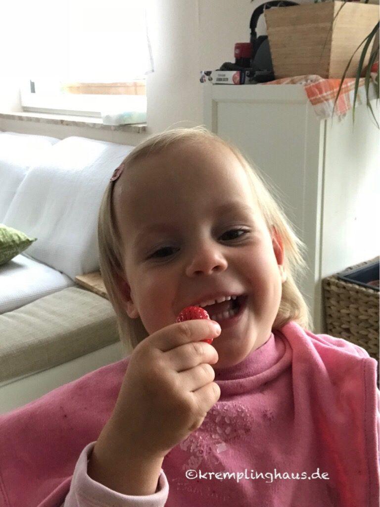 Kind isst Erdbeere