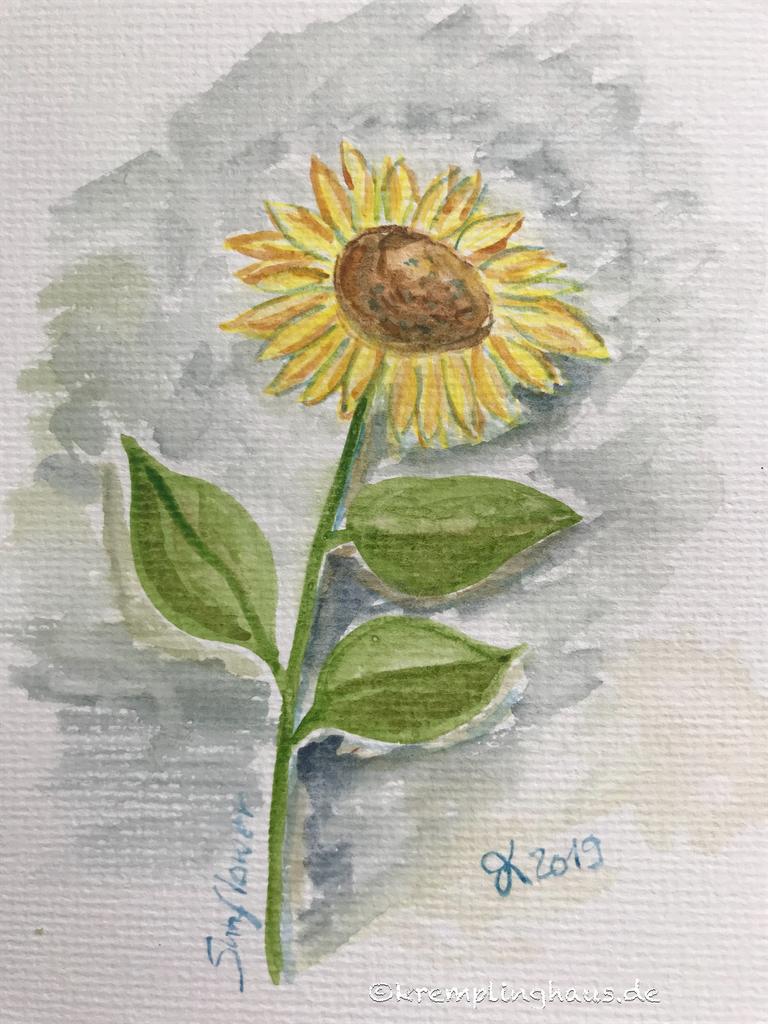 Sonnenblume gemalt Aquarell