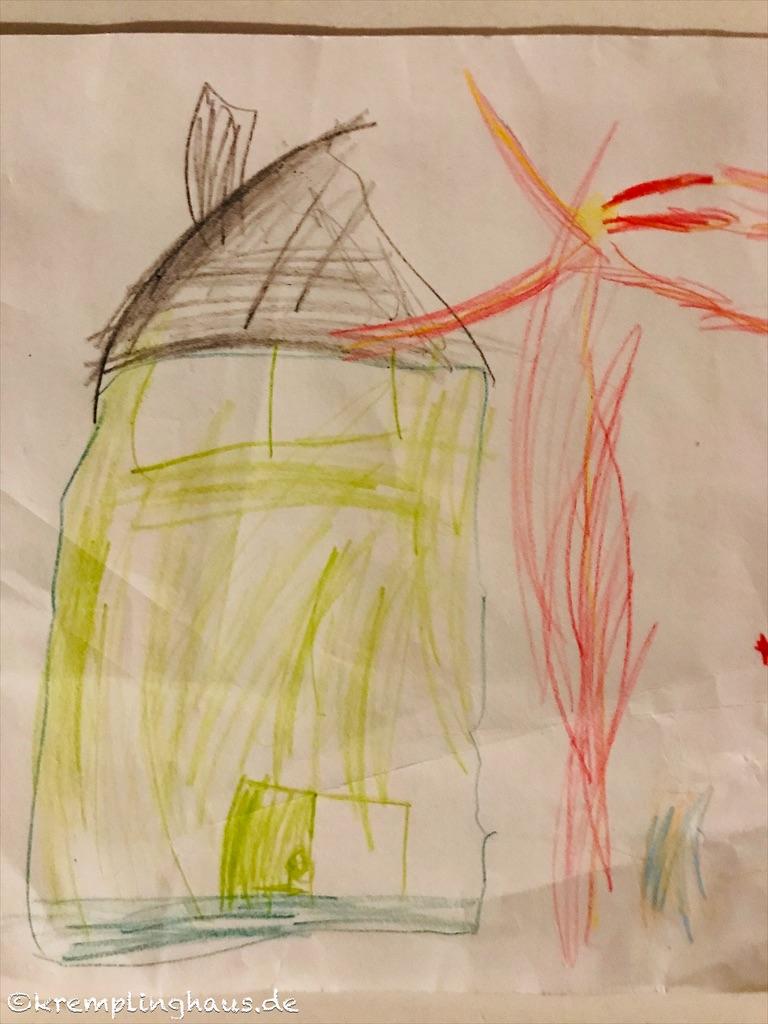 Kinderbild Haus und Silvesterrakete