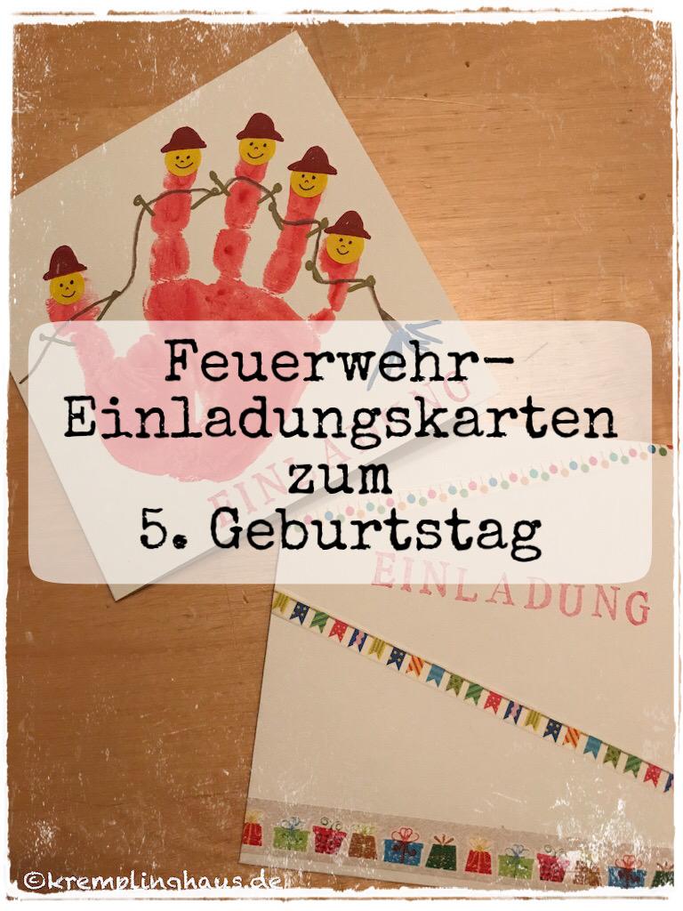 Feuerwehr-Einladungskarte zum 5. Geburtstag
