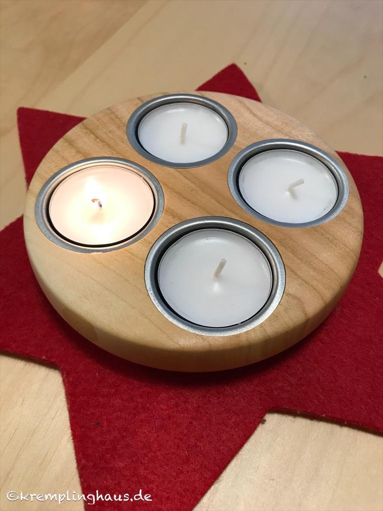 Mini-Adventskranz aus Holz