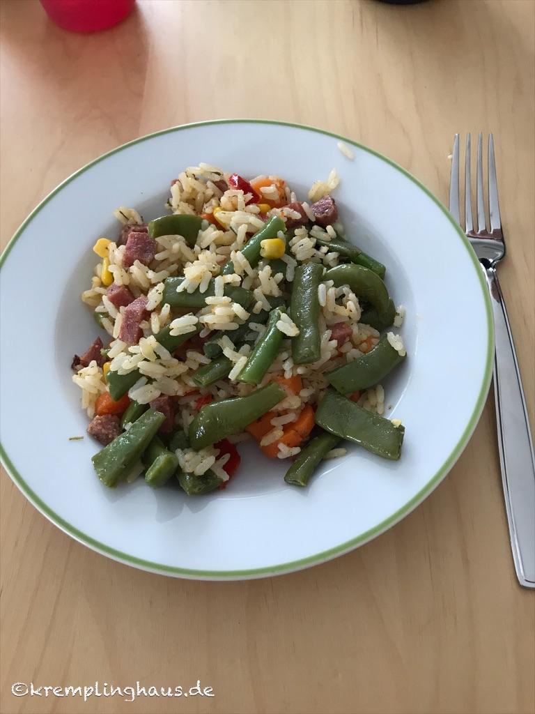 Mittagessen Gemüse-Reis-Pfanne