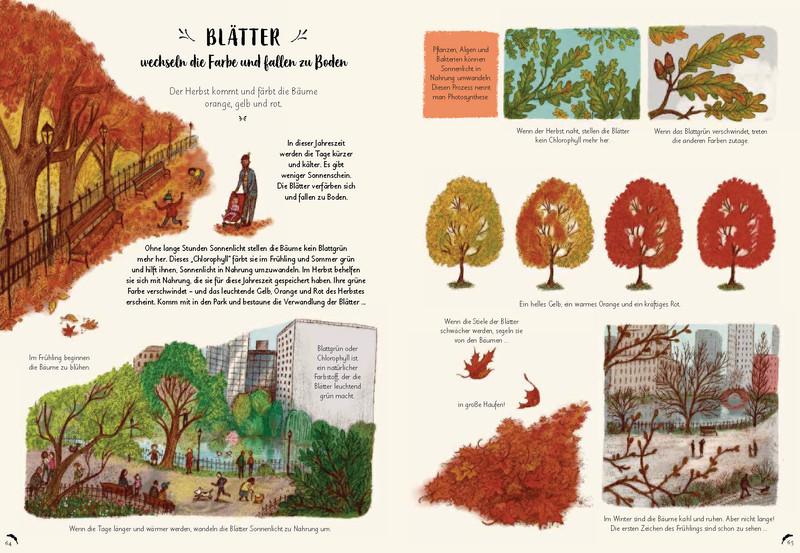 Buchseite Wunder der Natur Bäume
