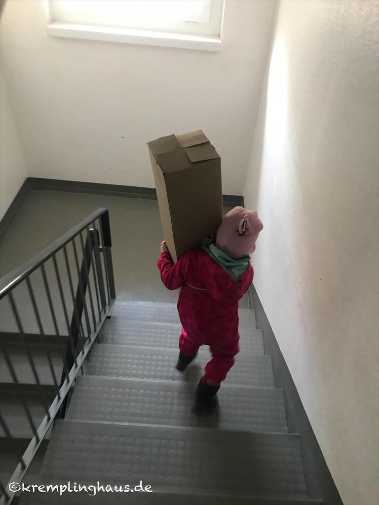 Kind trägt Karton die Treppe runter