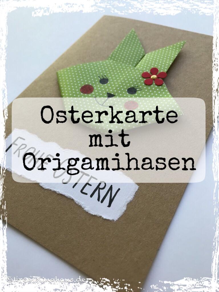 Osterkarte mit Origamihasen