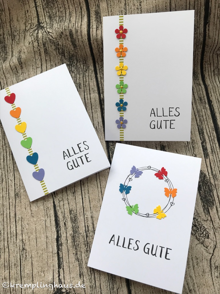 Grußkarten im Regenbogendesign