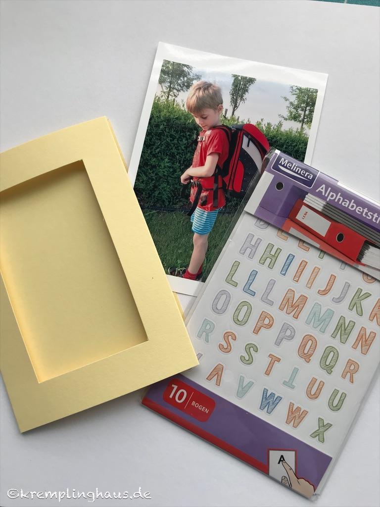Material Einladungskarte zum Schulanfang