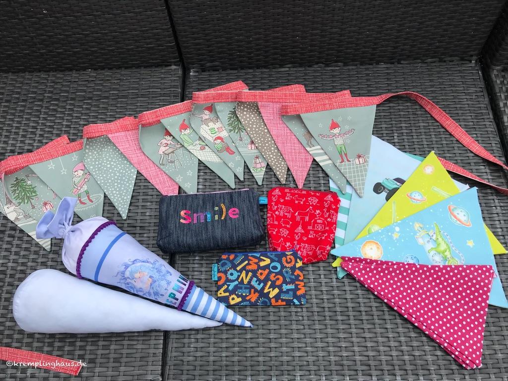 Genähte Werke, verschiedene Wimpel, Weihnachtswimpelkette, Schultütenkissen, kleine Taschen